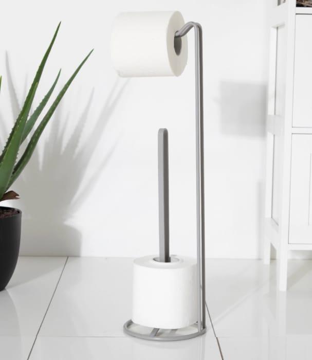 Bathroom: Toilet Roll Holder & Storage Caddy (Grey, Black or Chrome)