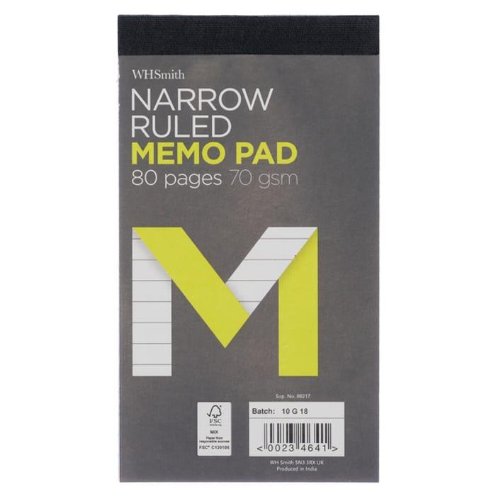 WHSmith Medium Narrow Ruled Memo Pad