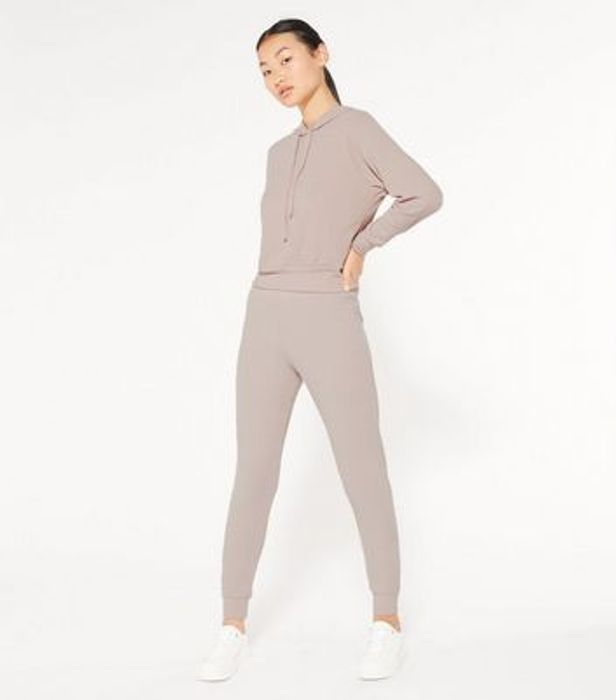 Petite Pale Pink Ribbed Hoodie and Joggers Set