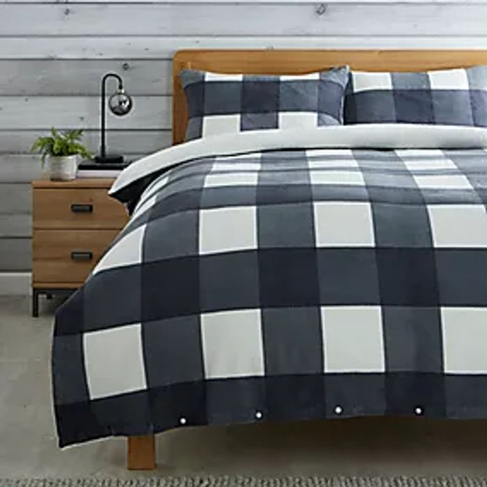 Grey or Red Check Duvet Cover and Pillowcase Set - Only £12-14 (Double - King)
