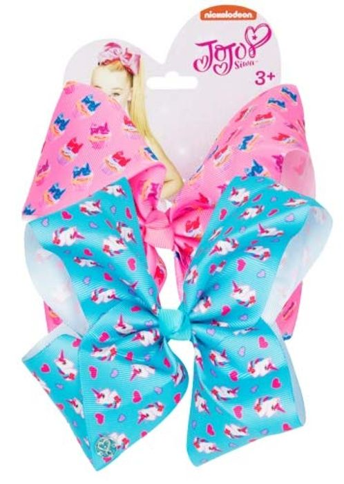JoJo Siwa JJS-001-TRU Double Bow Set Pink Cupcakes Unicorn Love Hearts