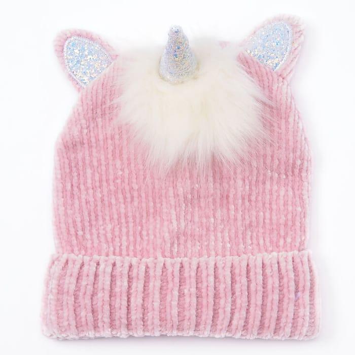 Unicorn Chenille Beanie - Pink