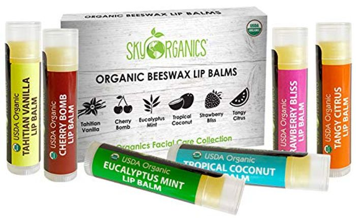 USDA Organic Lip Balm by Sky Organics - 6 Pack Assorted Flavors - with Beeswax