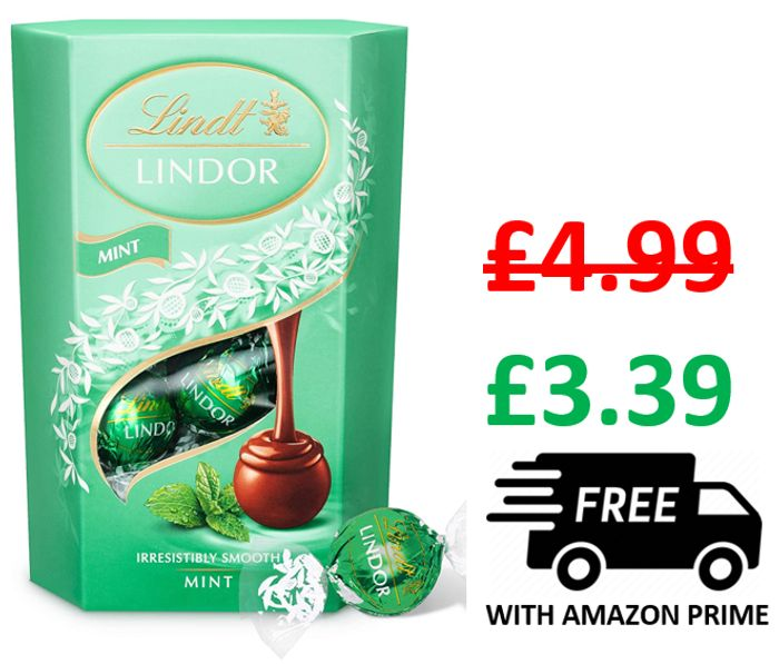 Lindt Lindor Milk Mint Chocolate Truffles Box 16 Balls, 200g