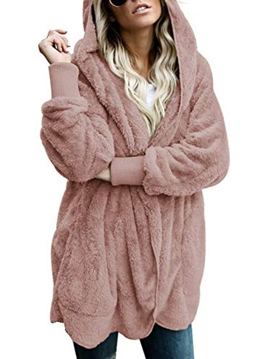 Womens Fluffy Fleece Hooded Cardigan (Colour: F Leopard)