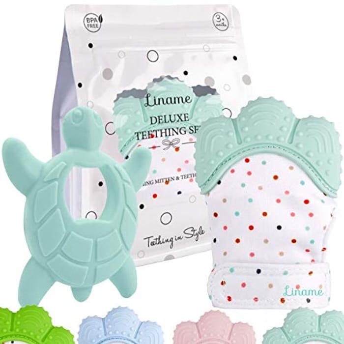 Deluxe Teething Set Includes Teething Mitten for Babies & Teething Toy