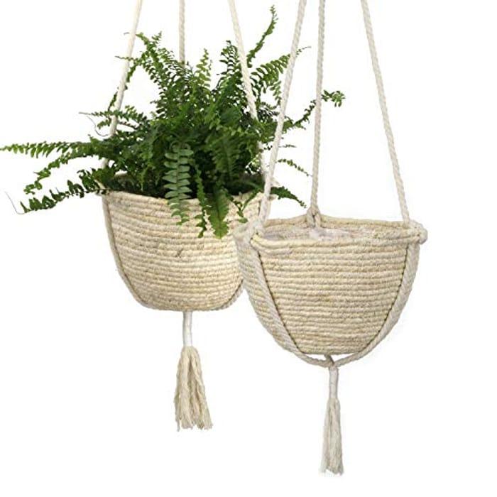 Natural Corn Skin Hanging Planter X 2