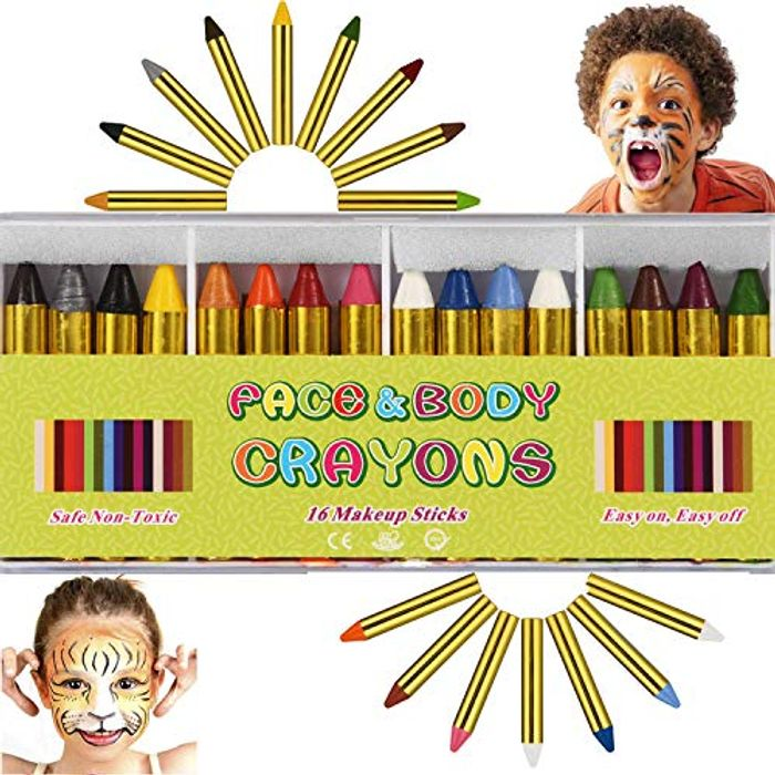 16 PCS Face Paint Crayons Kit