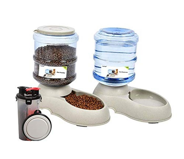 Automatic Pet Feeder Dispenser Set 3.5L + Pet Water Food Bottle for Outdoor