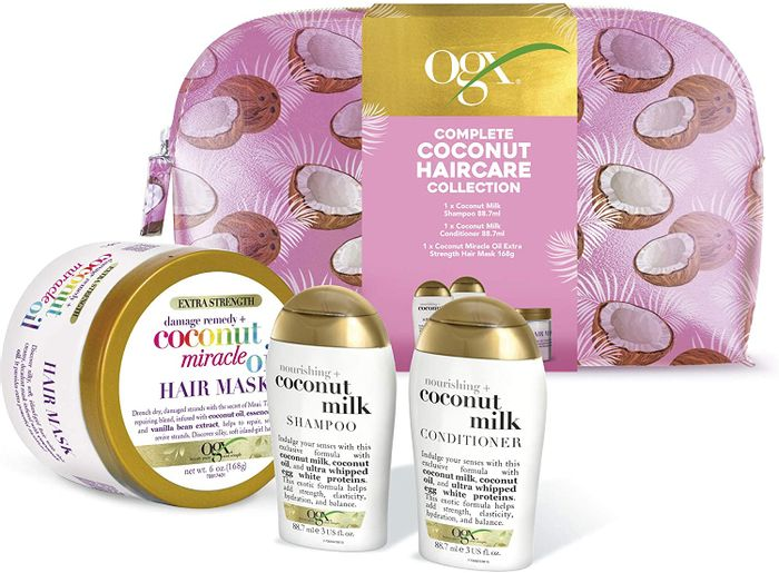 OGX Coconut Hair Care Gift Set with Shampoo, Conditioner, Mask and Beauty Bag