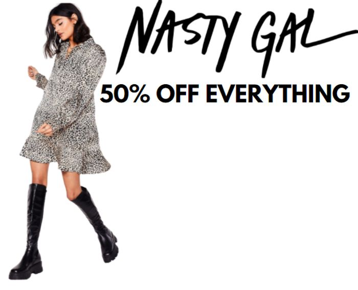 Nasty Gal - 50% Off EVERYTHING + 10% Extra On Dresses, Tops & Shoes!