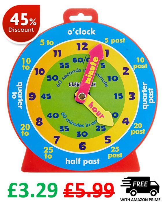 Learn to Tell the Time - Kids Clock - £3.34 (Prime)