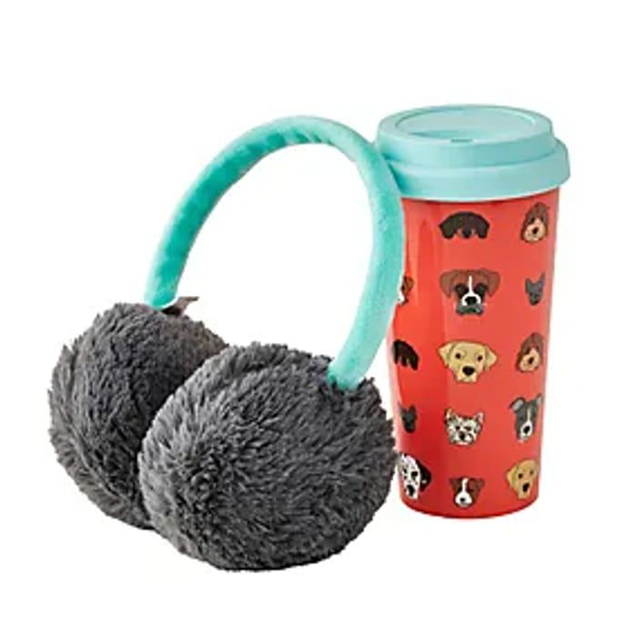 Dog Travel Mug with Ear Muffs