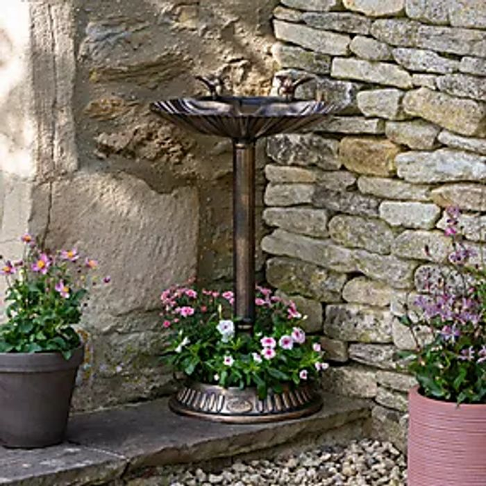 Bronze Bird Bath and Planter Click and Collect