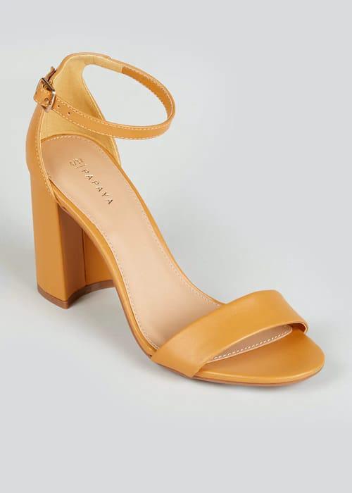 Mustard Block Heel Strappy Sandals