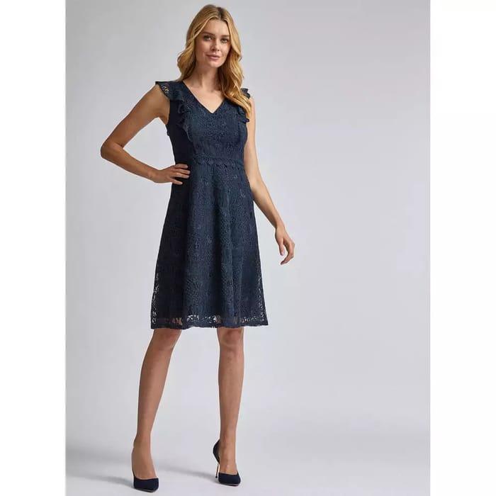 Dorothy Perkins-Blue Lace Taylor Knee Length Dress