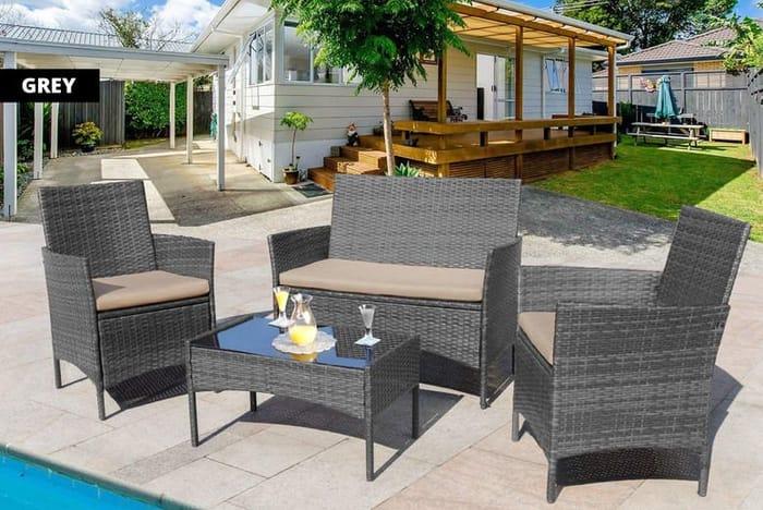 4-Seater Rattan Garden Furniture Set - Black, Brown & More!
