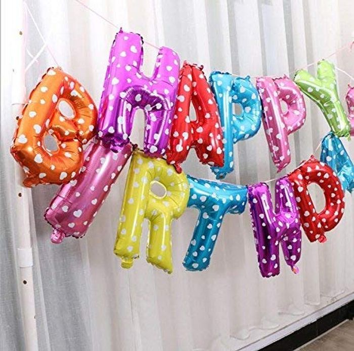 Self Inflating Happy Birthday Banner Balloon Bunting Multi 16 Inch Letters Foil