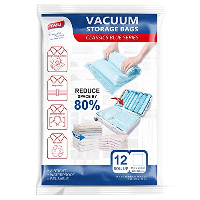 Vacuum Storage Bags Roll up 12 Pack 40 X 60cm