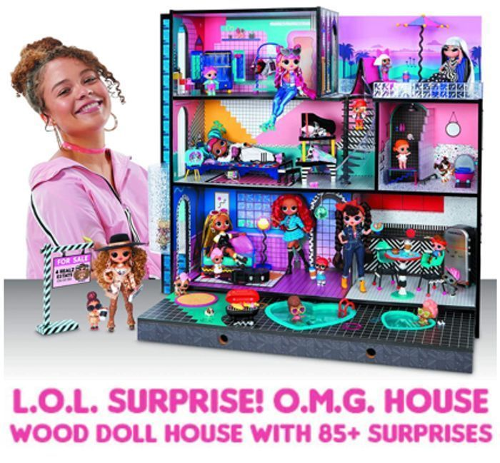 £50 OFF! LOL Surprise OMG Real Wooden Doll House with 85+ Surprises