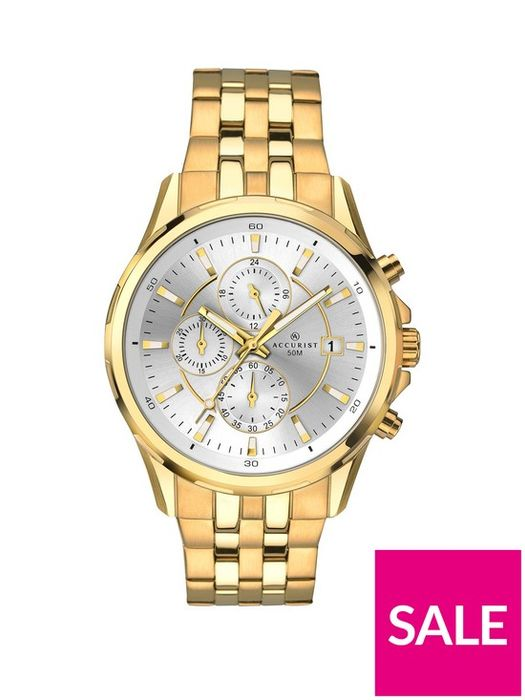 Accurist Silver & Gold Detail Chronograph Dial Two Tone Stainless Steel Watch