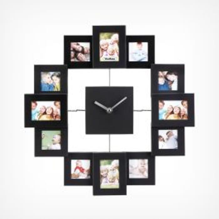Photo Frame Clock Black