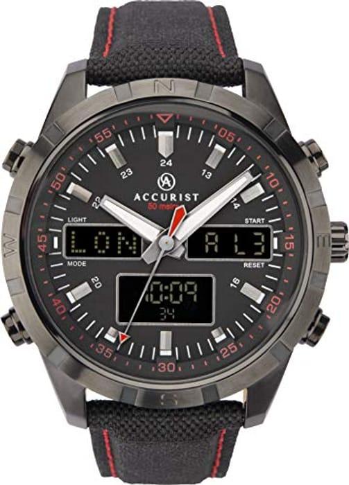 Accurist Mens Analogue-Digital Japanese Quartz Watch with Nylon Strap 7245