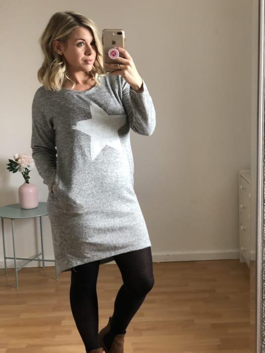 Grey Soft Knit Star Print Jumper