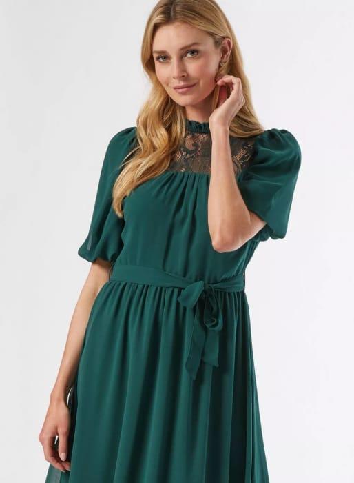 Billie & Blossom Green Lace Yoke Skater Dress