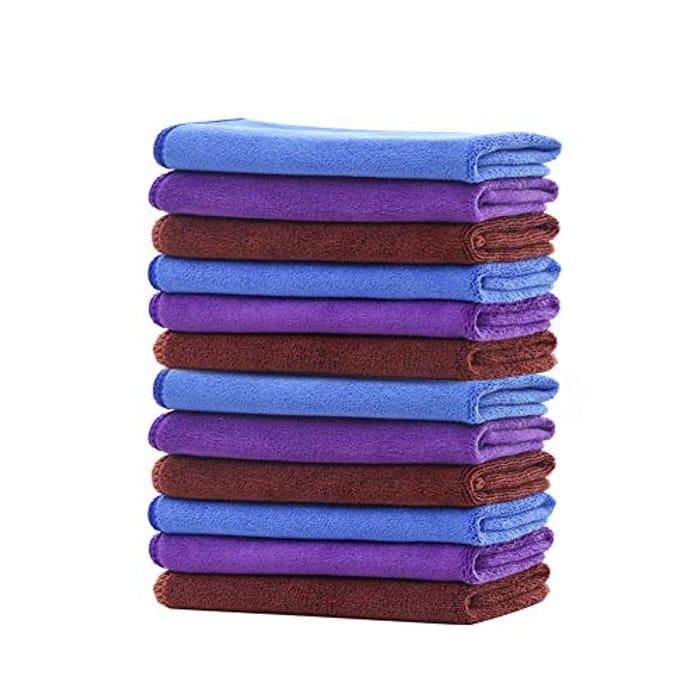 CLIPOP 12 PCS Premium Quality Microfibre Cleaning Cloths