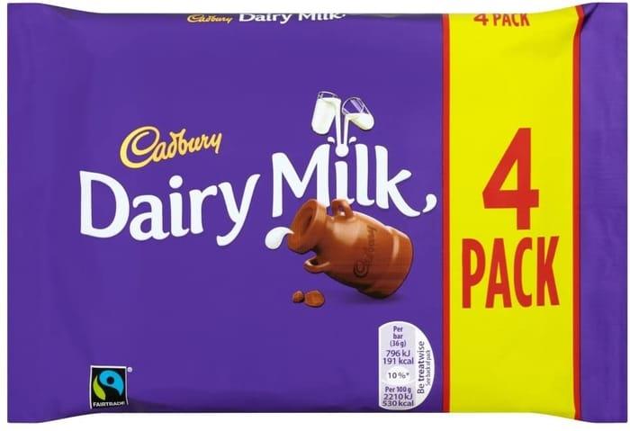 Cadbury Dairy Milk Chocolate Bar Multipack, 4 X 36g