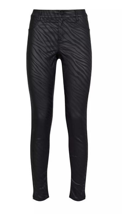 Black Zebra Coated Frankie Skinny Denim Jeans
