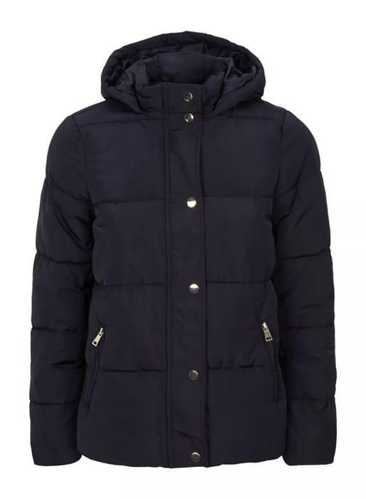 DP Petite Navy Short Hooded Coat.