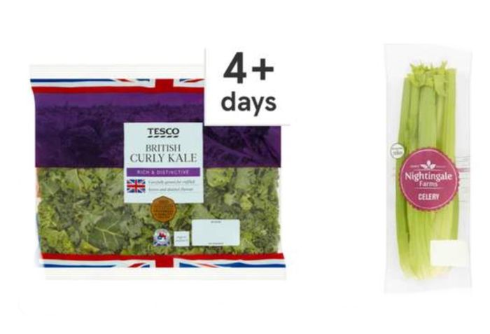 Tesco Curly Kale 180G/ Nightingale Farms Celery, 29p/Tesco Courgettes £1 Only