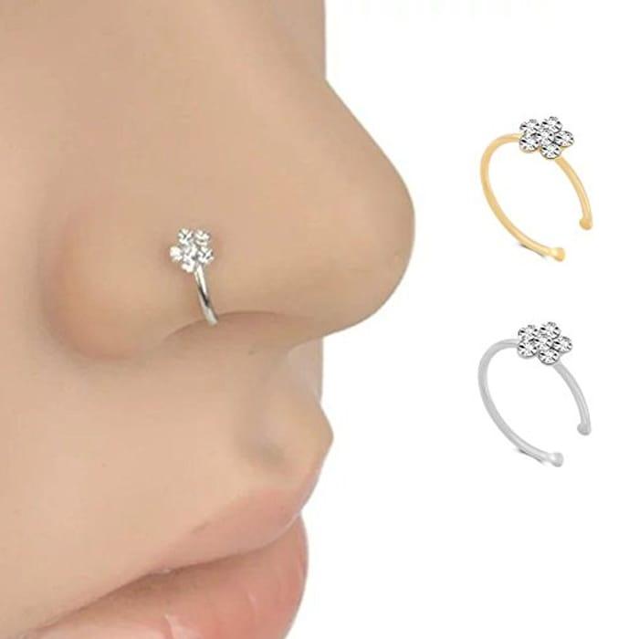Repino Surgical Steel Rhinestone Flower Nose Ring Hoop Women's Body