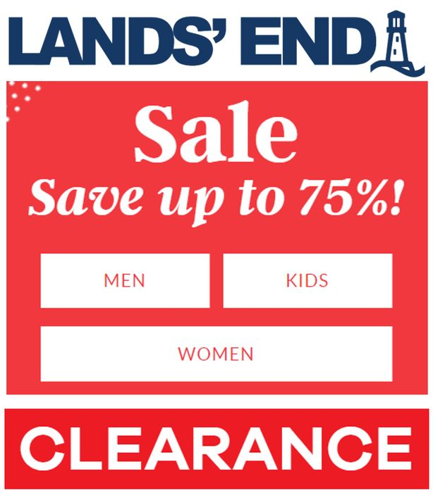 Special Offer! LAND'S END CLEARANCE SALE - up to 75% off - Women's, Men's & Kids