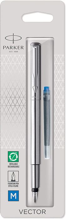 Parker Vector Fountain Pen | Stainless Steel with Chrome Trim | Medium Nib |