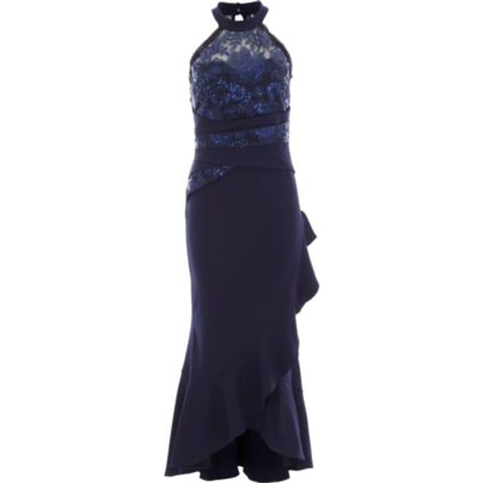 SISTAGLAM Navy Sequin Maxi Dress