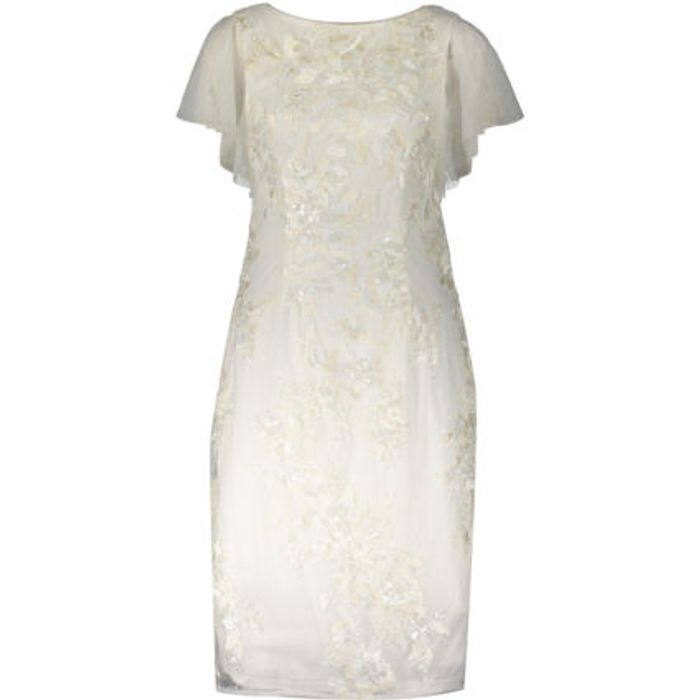 ADRIANNA PAPELL Ivory Floral Sequin Short Sleeve Dress