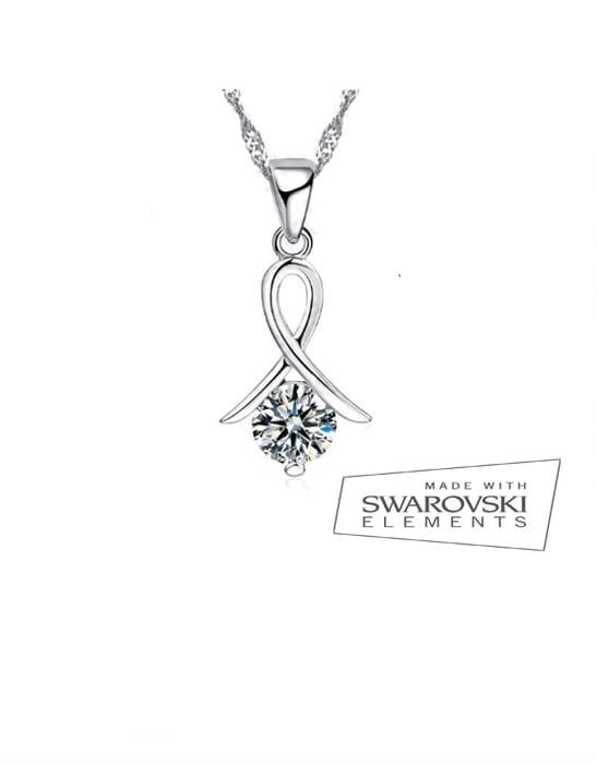 Sterling Silver Awareness Swarovski Necklace