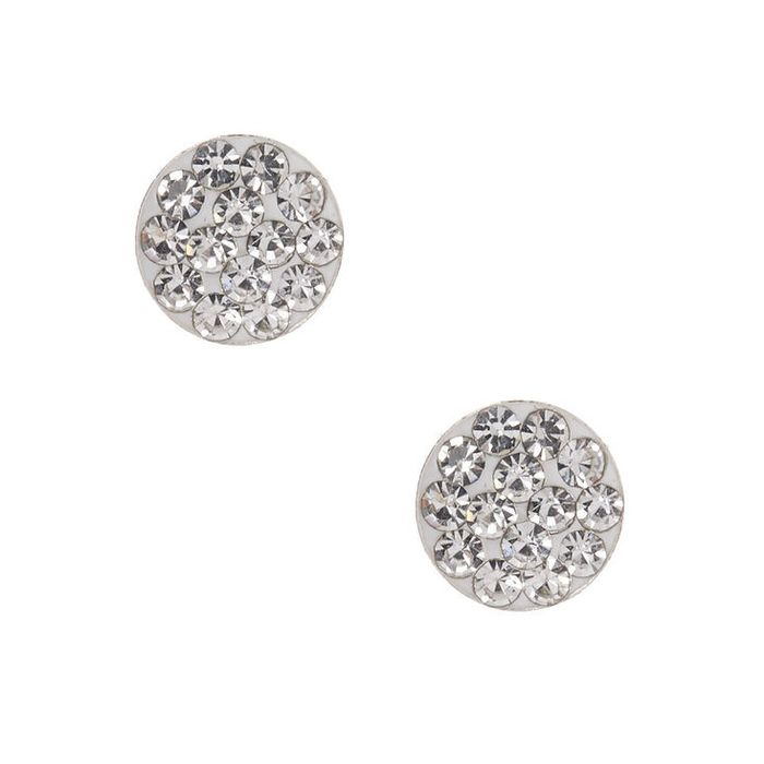 Sterling Silver Embellished Disc Stud Earrings - White