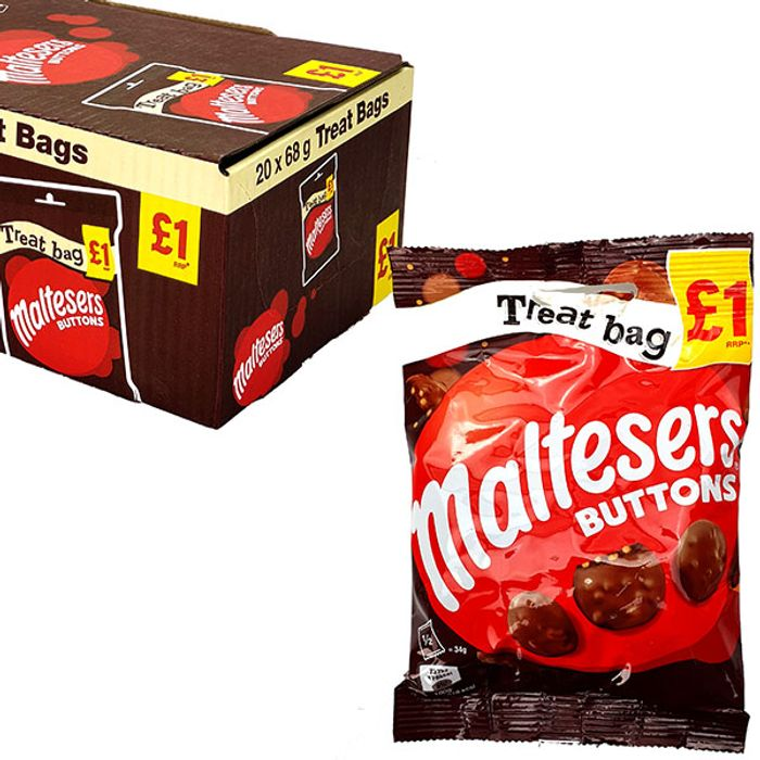 20 X Maltesers Buttons 68g Treat Bags