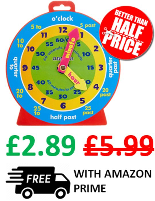 Clever Clock - Kids Learn to Tell the Time Clock + FREE PRIME DELIVERY