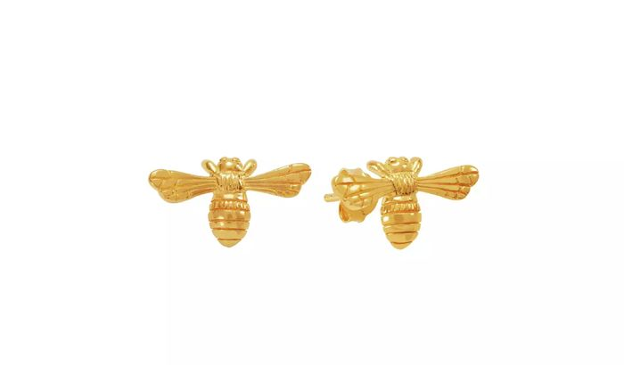 Revere 9ct Gold Plated Sterling Silver Bee Stud Earrings Click & Collect