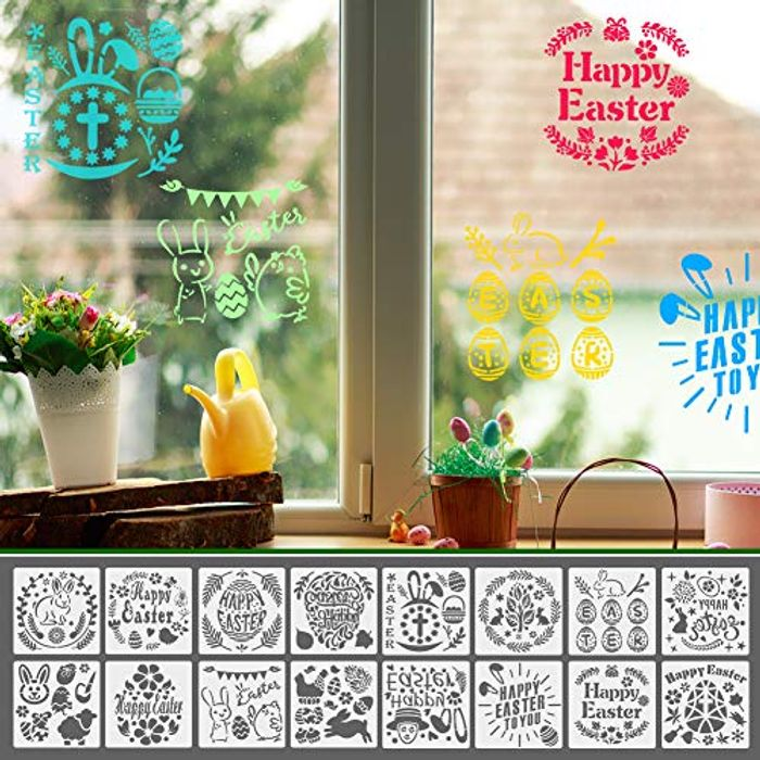 16 PCs Washable Easter Painting Templates