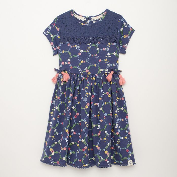 Mantaray - Girls' Navy Blue Honeycomb Flower Print Short Sleeve Jersey Dress