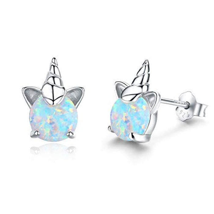 LIGHTNING DEAL - Opal Women-925 Sterling Silver Unicorn Stud Earrings