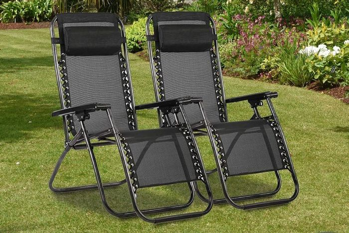 Pair Of Zero Gravity Reclining Garden Chairs - £94.98 Delivered