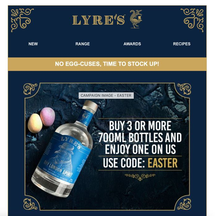 Buy 3 or More 700mL Bottles and Enjoy One on 'Us' at LYRES