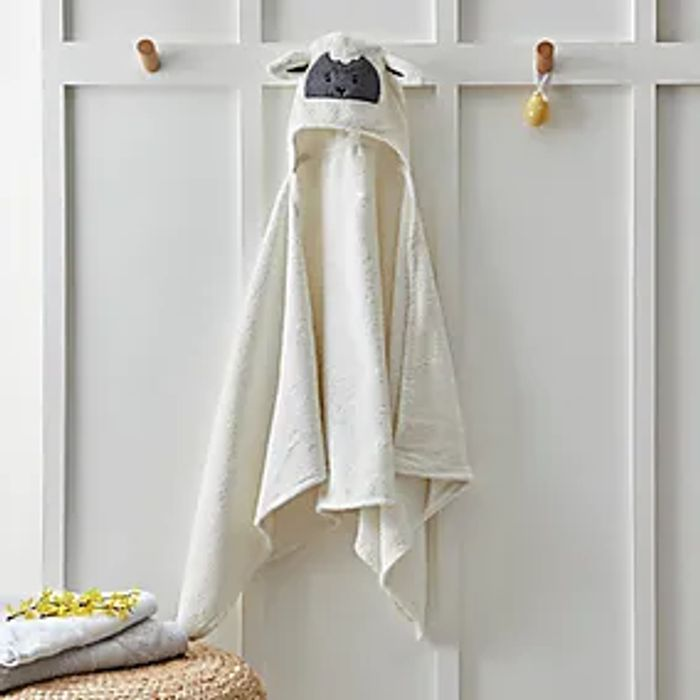 Easter Sheep Embroidered 100% Cotton Hooded Towel